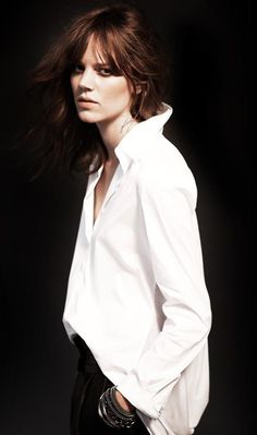 What every woman needs a white shirt ... or 20 ... Untucked perfection. Freja Beha Erichsen for Ninesix NY 96 A/W 2012