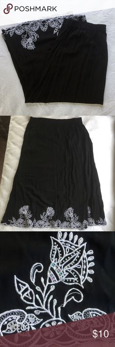 Embroidered Maxi Skirt Black maxi skirt with white embroidery and sequins along the bottom. Has pockets. Never worn. Studio 1940 Skirts Maxi
