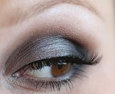 Use lighter matte brown first (in the crease), then blend darker brown up from lash to crease.  Layer light, then dark on bottom.  Thinly line in black at lash roots.