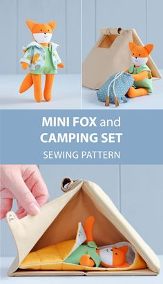 Mini fox doll with clothes + Camping set (camping tent, sleeping bag, backpack) for mini doll sewing patterns. Doll Sewing Patterns, Bag Patterns To Sew, Sewing Tutorials, Roll Up Curtains, Animal Backpacks, Camping Set, Night In The Wood, Clothes Basket, Backpack Pattern