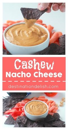 Cashew Nacho Cheese | Destination Delish - a wholesome, vegan nacho cheese recipe using cashews, nutritional yeast, and green chiles. You won't even know the actual cheese is missing!