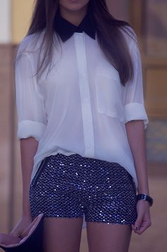 Sheer, white with black collar