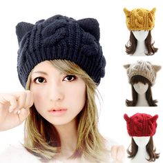 Mulheres Cat Horns Ear Crochet Trançado Knit Ski Beanie Cap Hat Wool
