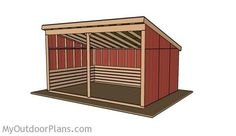 This step by step diy woodworking project is about horse shelter plans. The project features instructions for building a a large run-in shed, that can accommodate up to three horses. Wood Shed Plans, Storage Shed Plans, Barn Plans, Diy Storage, Easy Woodworking Projects, Woodworking Plans, Woodworking Shop, Wood Projects, Woodworking Machinery