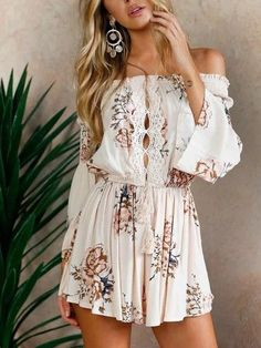 Polychrome Off Shoulder Tie Waist Flared Sleeve Romper Playsuit