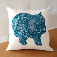 Organic wombat cushion cover // Wombat front by BursariaWorkshop Animal Cushions, Cushion Inserts, Australian Animals, Wombat, Tasmania, Screen Printing, How Are You Feeling, Organic, Throw Pillows