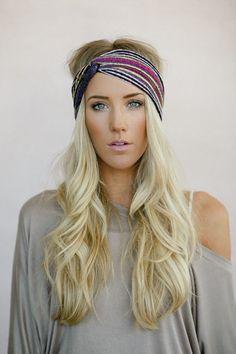 Turban Headband, Tribal Head Wrap, Fabric Hair Wrap, Fashion Hair Accessories, Printed Jersey Turband in Aztec (HB-3846) , $28.00
