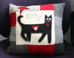 Kitty love-upcycled wool kitty pillow