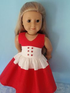 Red and white mini polka dot dress by izzadorabelle on Etsy. Made using the Lisianthus Dress pattern,found at http://www.pixiefaire.com/products/lisianthus-dress-18-doll-clothes. #pixiefaire #lisianthusdress