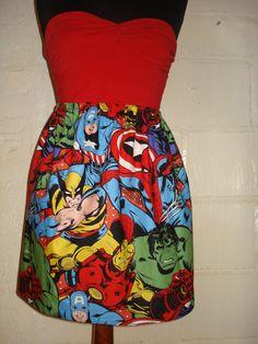 Larger Print Avengers Mini Skirt w/ Hulk, Captain America, Spiderman, Iron Man, Wolverine - High Waisted Ladies - Handmade & Ready to Ship. £25.00, via Etsy.