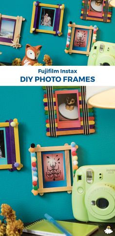 These easy-to-make #DIY picture frames are the perfect way to display your Fujifilm Instax Mini 9 memories! Get creative with #color, #trinkets, and #seashells and #design custom #pictureframes the perfect size for your Fujifilm Instax pics!