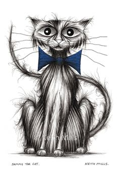 Sammy the cat Print download Posh pet puss kitty pussycat with long thin tail wearing smart blue bow tie Animal art ink sketch picture image by KeithMills on Etsy