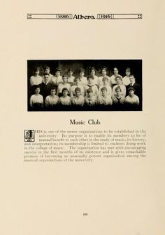 """Athena yearbook, 1916. The Music Club promoted, """"the study of music, its history, and interpretation"""" and membership was limited to students within the college of music."""