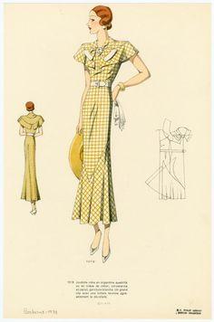"""Juvénile robe en organdina quadrillé ou en crêpe de coton ; col-pèlerine en pareil, garniture blanche. Un grand clip avec une initiale termine agréablement le décolleté."""" From Les grands modèles. 1934"""