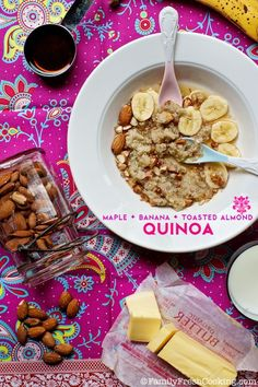 Do I need to twist your arm to convince you that you need Maple Banana Toasted Almond Quinoa in your life? I think not. Quinoa has been trendy for quite some time but it's very obvious that this seed (often mistaken to be a grain) is here to stay. We love it savory, sweet and everything …