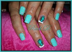 Mint polish with neon glitters & Butterf by RadiD - Nail Art Gallery nailartgallery.nailsmag.com by Nails Magazine www.nailsmag.com #nailart
