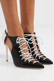 Montana cutout two-tone leather pumps