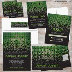 Video game / gamer / gaming pixel green and black bar mitzvah invitation set