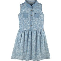 Tommy Hilfiger Sleeveless faded blue floral dress ($100) ❤ liked on Polyvore