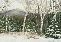 """Monadnock in Winter"" - I live in the Monadnock Region of New Hampshire. There are spectacular views of this beautiful mountain from so many different angles around this part of the state. This photo was taken by a friend of a friend from their yard in Jaffrey, New Hampshire and they asked me to do a painting of their view in winter."
