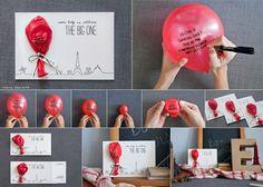 Balão como cartão de aniversário.                                                                                                                                                                                 Mais