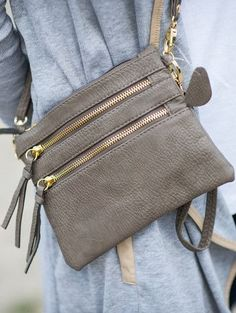 Triple zip cross body bag in grey. Stitch fix purse. accessories 2017. #sponsored #stitchfix