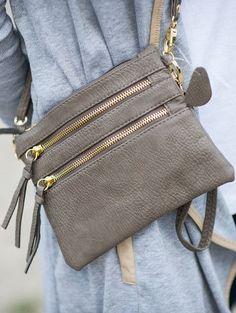 Triple zip cross body bag in grey. Stitch fix purse. accessories 2017. #sponsored #stitchfix