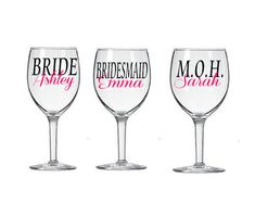 Personalized Wine Glass Decals Set of 4 Bridal by TheCraftyVixen, $12.00