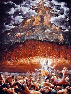 Lord Vishnu lifts Mandara mountain