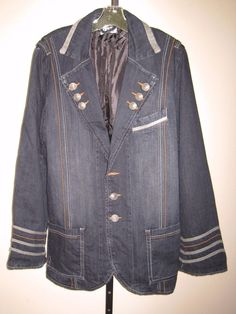 Vintage International Male Sgt Pepper style Denim Jean Jacket Blazer size Large #InternationalMale #Casual #beatles