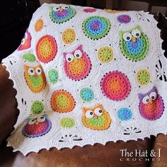 Crochet Owl Afghan Pattern --so cute! (NOT free) It's probably well beyond my crochet skills, but I had to pin it because it was so adorable. If I were to make it I'd pick the exact same colors and everything. Crochet Owls, Crochet Motifs, Crochet Blanket Patterns, Crochet Granny, Baby Blanket Crochet, Crochet Crafts, Free Crochet, Knit Crochet, Crochet Blankets