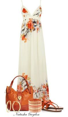 Pretty summer maxi dress with cute accessories for fashion over 40!