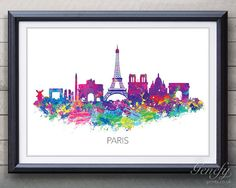 Paris Skyline Watercolor Art Poster Print  Wall by GenefyPrints ~ One of three prints that would go so well in Christian's room (NY, Paris, and London- three cities he will have visited with you) - Also that's a really nice way to incorporate purple, his fav color.