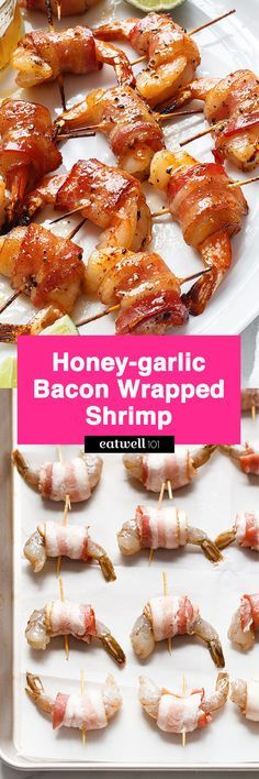 Honey-garlic Bacon Wrapped Shrimp - These crisp and sticky treats are the ultimate last-minute appetizer recipe!