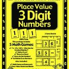 Place Value with 3 Digit Numbers - Games and Lesson Plans Math Games  This 24 page game packet contains 4 great place value games/activities.  $