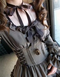 I found 'Gray black brown cute lolita dress bow corset' on Wish, check it out!