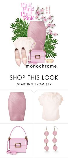 """head to toe in pink"" by bb-tka ❤ liked on Polyvore featuring Miss Selfridge, MSGM, Roger Vivier, New Directions and Hermès"