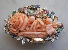 Momo Coral (Japan) Roses, Diamond, Ruby, Emerald, Sapphire And Topaz  Brooch/Pendant - Italian  c.1920-1930