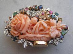 Momo Coral (Japan) Roses, Diamond, Ruby, Emerald, Sapphire And Topaz  Brooch/Pendant - Italian  c.1920-1930