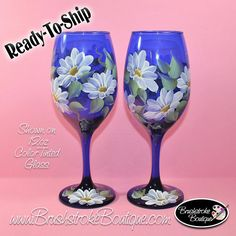 Hand Painted Wine Glasses Daisies on Cobalt Blue Tinted Blue Wine Glasses, Hand Painted Wine Glasses, Painting On Glass Windows, Cheap Wine, Cork Crafts, Glass Art, Just For You, Cobalt Blue, Daisies