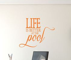 Life is better at the Pool Decal - Ocean Wall Decal - Wall Quotes - Beach House Wall Decor - Vinyl Lettering - Coastal Charm - Island Life Vinyl Lettering, Island Life, Beach Wall Decals, California King Bedding, Life Is Good, Bed Sizes, Step By Step Instructions, Textured Walls, Good Things