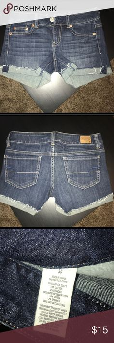 American Eagle Shorts size 2! Ae denim shortie shorts! Size 2. Cuffed hems! American Eagle Outfitters Shorts Jean Shorts