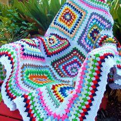 Multicolored Retro-modern Crocheted Granny by farmersdaughter52
