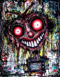"""Print 8x10"""" - TVOD - Dark Art Monster Creature Horror Blood Red Alien Zombie Antenna TV Television Drone Surreal Pop Eyes on Etsy, $10.00"""