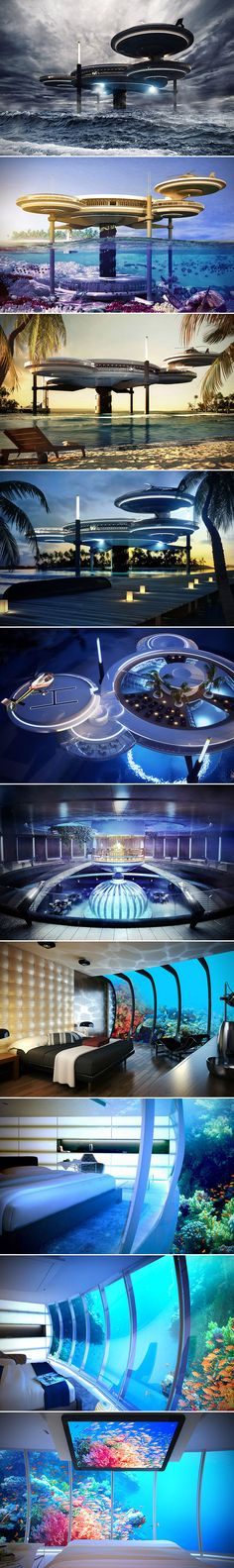 Dubai continues to be a leader when it comes to innovative, luxury resorts, and if their Water Discus Underwater Hotel is any indication, Dubai shows no signs of slowing down.  The hotel gains its name from the building construction, which sees one disc above water, and one below. The top structure is connected to the bottom half with five solid legs, and includes a vertical shaft that has been outfitted with a lift and stairways for guests to explore the underwater portion of the hotel.