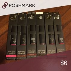 Elf velvet matte lipstick 🚫No Trades🚫 Brand new, 2 for $6. Colors from left to right are: Fuchsia Fantasy, Deep Burgundy, Dark Brown, Berry Bordeaux, Bold Berry and Flirty Flamingo. Let me know what colors you'd like and I'll create a separate listing for you. I also have moisturizing lipsticks in another listing and you can mix and match those also. ELF Makeup Lipstick