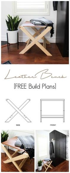 Beautiful modern leather bench with free build plans! Love this DIY furniture piece! Would look stunning in any bedroom, living room, or hallway! #modernfurniture #modern #woodworking #leather