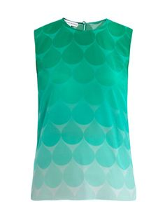 This green ombré teardrop-print silk cami top has a round-neck with a back-neck top button and keyhole detail.