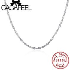 c452b25b5 GAGAFEEL Real 925 Sterling Silver Chain Necklaces For Women kids Fashion  S925 Water wave Necklace Chain