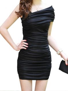 Sexy Cross Diagonal Hip Dress Single Shoulder Sheath Dress Women Casual Dress on buytrends.com